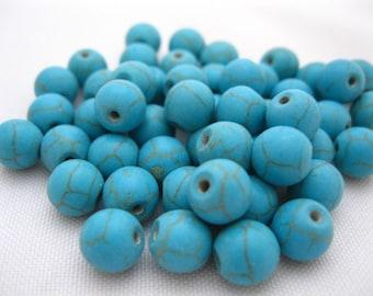 Round Turquoise Howlite Gemstone 9mm Beads (50)
