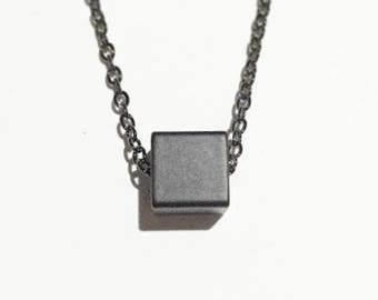 Minimal Black Cube Pendant Necklace - Hematite Chain Necklace- Everyday Necklace- Simple Necklace