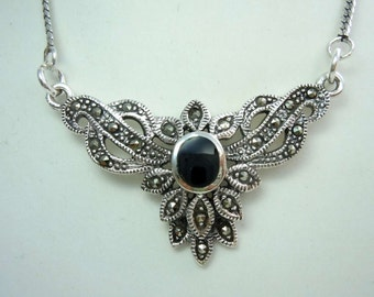 925 silver onyx necklace with marcasite BE9804