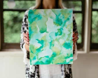 Blue and Green Watercolor Pattern Painting