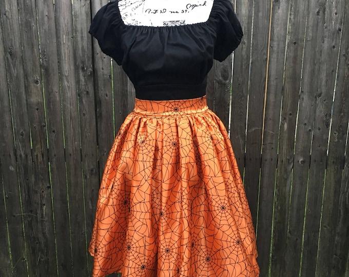 Black & Orange Spiderweb Halloween Skirt