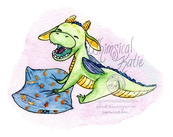 Sleepy Baby Dragon Greeting Card