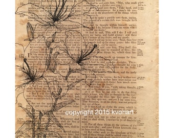 Lilies of the Field - Bible Page Print - 8x10 - Vintage Art Print