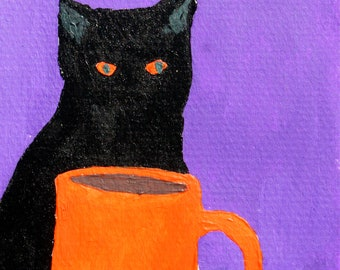 Coffee Cat, original painting