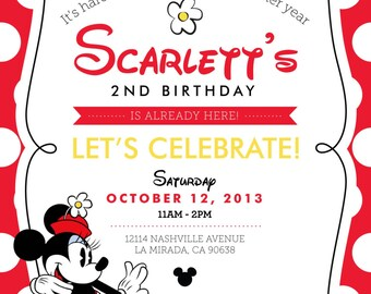 Minnie Mouse Birthday Invitation - 5x7 Printable