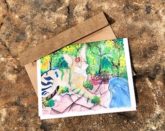 Set of four blank notecards Happy Cat
