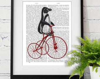 Penguin Art - Bicycle - penguin print penguin gift penguin nursery art penguin wall art cute penguin décor penguin poster penguin picture