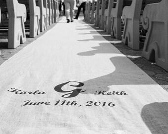 15-35 ft Dad Quote Custom Wedding Burlap Aisle Runner