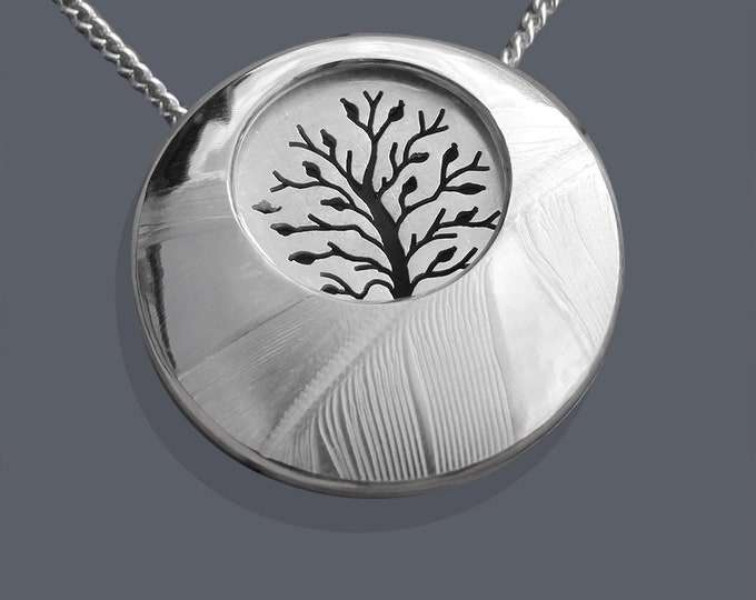 Tree Necklace, Tree in Feather Landscape, Silver Pendant.