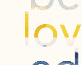 BELOVED - Blank greeting card with typography design