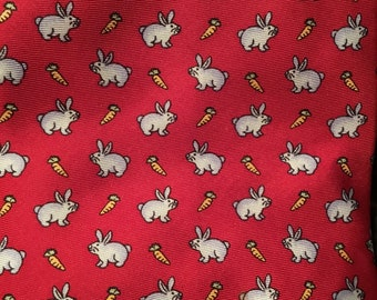 Mens Vintage Rabbits and Carrots Necktie Beaufort The Rack 100% Silk Made in Italy