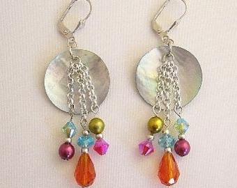Shell Earrings Glass Beads Colorful