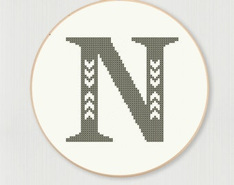 Cross stitch letter N pattern with chevron detail, instant digital download