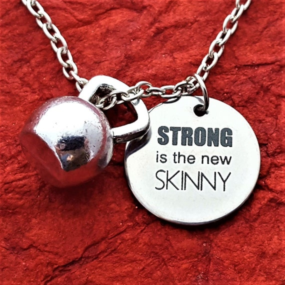 Kettlebell Charm Necklace, CrossFit Bodybuilding Jewelry, Fitness Gym Gifts, STRONG is the new SKINNY Quote, Motivational Coach Trainer Gift
