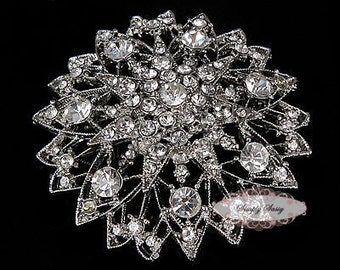 Silver Rhinestone Brooch Embellishment - Flatback - Brooch Bouquet - Supply - Broach - RD228