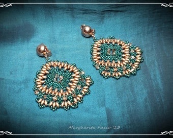 Bead Tutorial Madeira earrings pattern superduo, swarovski and seed beads