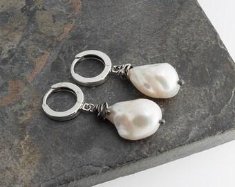 Long Drop Pearl Earrings, White Pearl Earrings, Silver earrings, Jewelry, Handmade Earrings, Dainty Earrings, Contemporary Jewelry