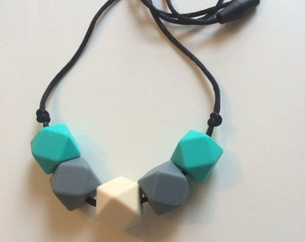 Chic Simple Hexagon Necklace-Gray