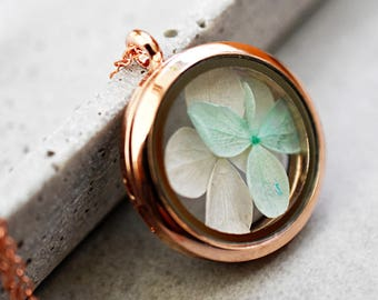 Hortensia Rose Gold Locket Necklace (VIK-72)