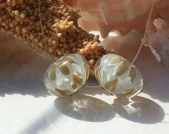 Handmade Lampwork Glass Beads SRA Sage Bloom Pair Encasement Florals (2)