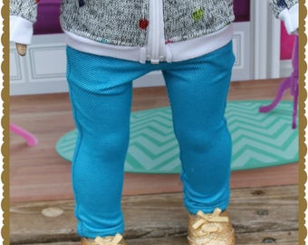 18 inch doll, such as American Girl, turquoise jeggings