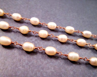 Freshwater Pearl Necklace, Rose Gold Wire Wrapped, Chain Link Necklace, FREE Shipping U.S.