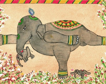 Elephant Yoga, Hatha (i) Yoga, Yoga Art, Warrior Pose Veerabhadrasana, Elephant Art