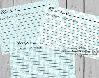 Aqua Polka Dots Printable Recipe Cards 3.5x5 | 4x6 Recipe Cards For Bridal Shower | 3x5 Blank Recipe Cards | Hostess Gift | Shower Favors