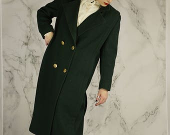 Vintage 80's Dark Green Double-Breasted Wool Overcoat With Gold Buttons | Made in USA | M | L