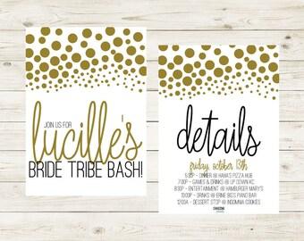CONFETTI | Black & Gold Bride Tribe Bachelorette Bash Invitation | Bride Tribe Bachelorette Party Invitation | Bride Tribe Party | BachParty