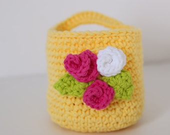 Bright Yellow Crochet Basket with Face Scrubbies, Gift Set, Makeup Remover Washable Pads Wash Clothes