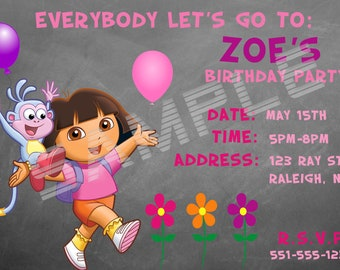 Dora the Explorer Birthday Party Invitation Digital Version