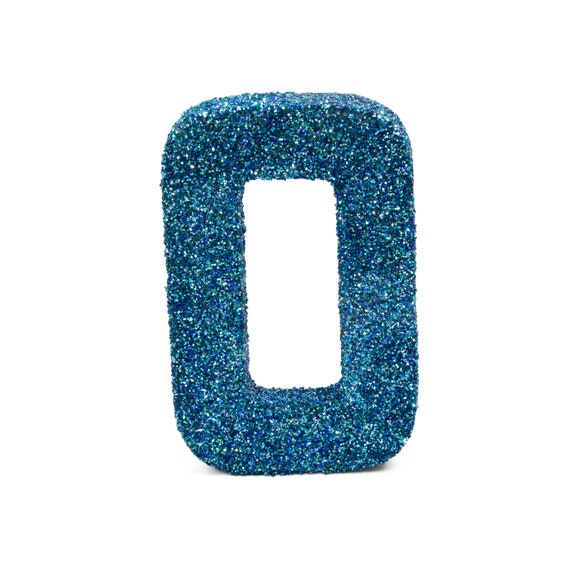 """8"""" Glitter Number 0, Paper Mache Number 0, Giant Blue Number Centerpiece Number Zero Table Letters Large Decorative Blue Number Birthday"""
