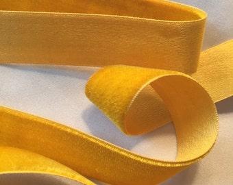 Bright Yellow Ribbon, Silk Rayon Cotton Ribbon, Velvet Ribbon, Satin Ribbon, Vintage Ribbon, Marigold, Mustard