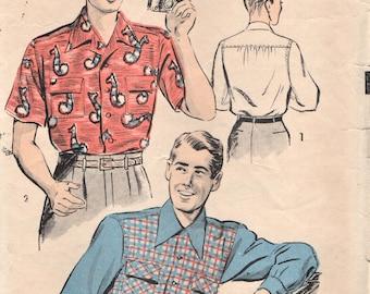 Vorab 3968 Sport Shirt Kontrast vorne lange oder kurze Ärmel Jahrgang 1940er Jahre | 1950er Jahre