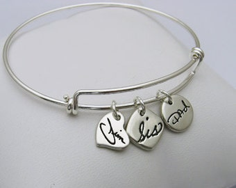 Handwriting Jewelry, Handwriting Bracelet, Charm Bracelet, Silver Charm Bracelet, Handwriting Charm Bracelet, Expandable Bangle