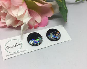 Large black with silver chunky glitter  earrings, black and silver studs,  black painted wooden earrings, black resin earrings