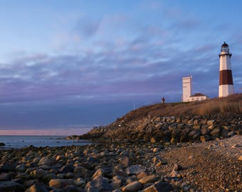 Photograph of a lighthouse at sunrise. Picture of a lighthouse. Montauk Lighthouse at sunrise. Coastal art. Vacation house decor, Suffolk
