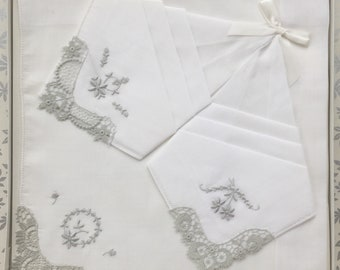 Box of 3 Vintage Swiss Cotton Handkerchiefs with Dove Grey Embroidered Lace (Happy to Personalise)