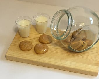"""peanut butter cookies and milks For 18"""" dolls. Made from polymer clay and resin. So cute!"""