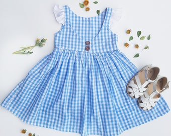 Girls Blue Gingham Dress, girls gingham dress, Dorothy costume, blue checkered dress, blue dress girls