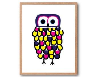 FASHIONABLE Owl Art Print, Owl Art Print, Owl Decor, Owl Nursery, Woodland Animal, Animal Illustration, Woodland Nursery