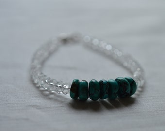 Faceted glass and turquoise bracelet