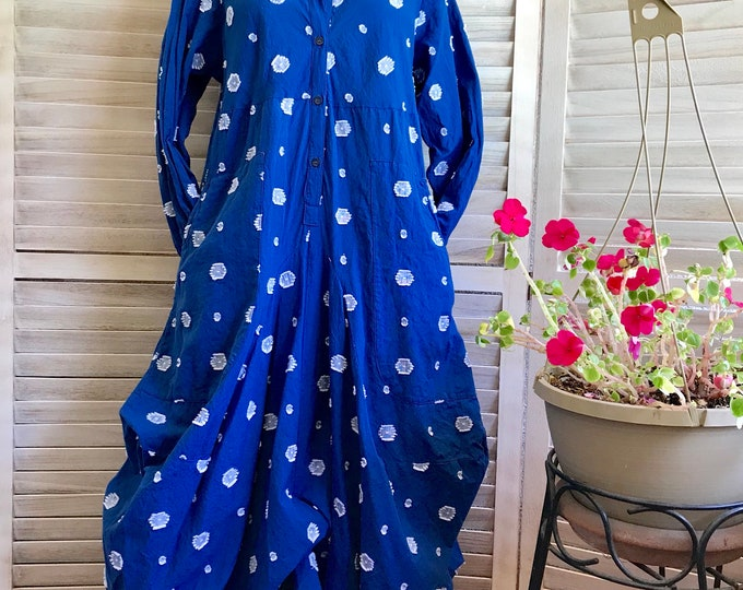 Funky dress with sleeves in stunning blue washed cotton in size small