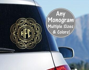 Mandala Monogram Car Decal, Mandala Decal, Car Mandala Decal, Boho Decal Mandala Customized Glitter Decals Monograms, Preppy Car Sticker
