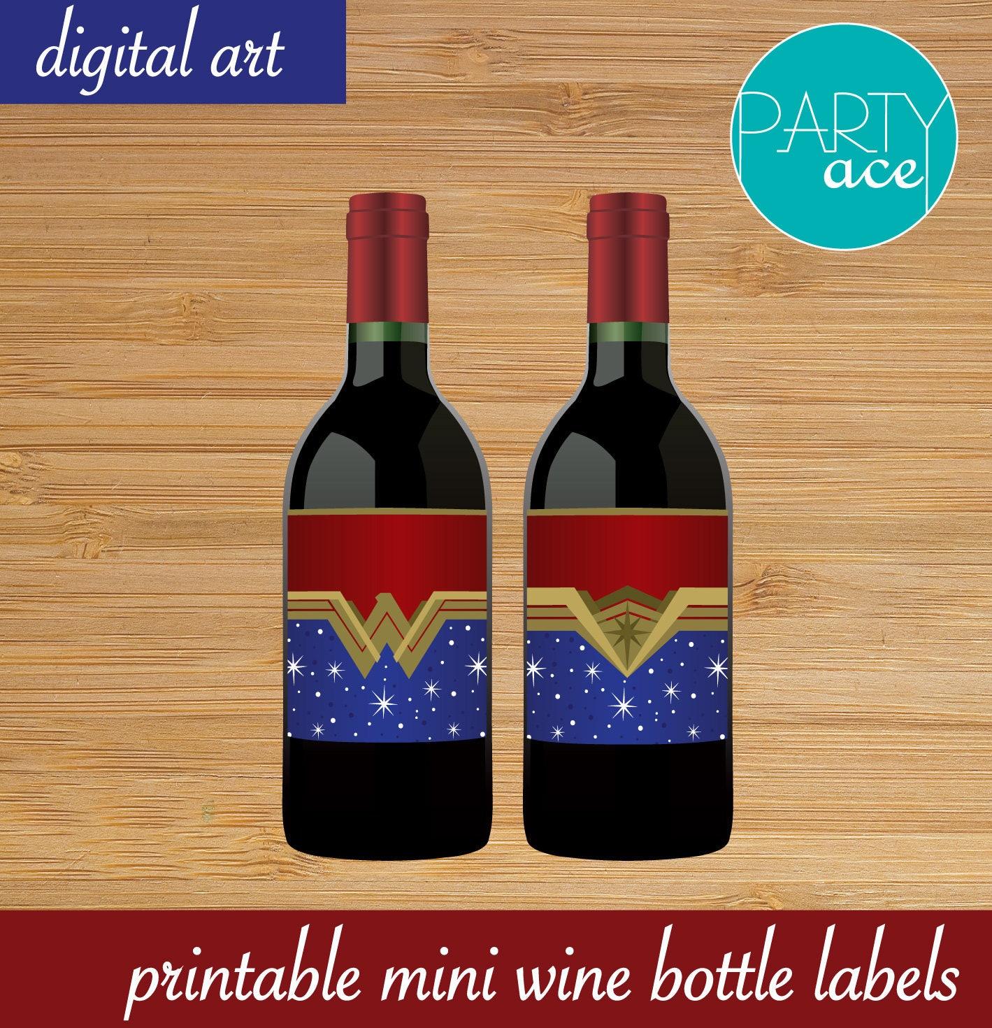 Printable Wine Bottle Labels: Wonder Woman Printable Mini Wine Bottle Labels Wonder Woman