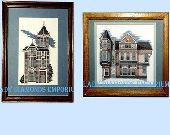 Two Vintage Cross Stitch Patterns, Westerfeld Mansion & 700 Broderick, San Francisco Victorian Mansions,  by Maureen E. Doherty