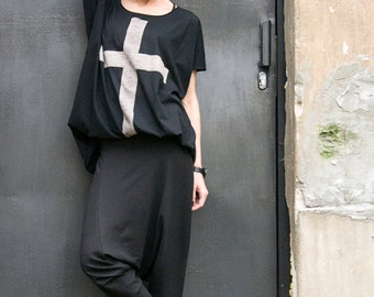 "NEW COLLECTION  Black Cotton  ""Cross"" Tee / HandMade Oversize Black T-Shirt / Casual top by Aakasha Top A12146"