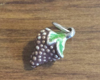 "Sterling Silver Enameled ""Bunch of Grapes"" charm 3-D"