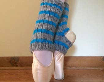 Ballet Ankle Warmers/Yoga Socks: Gray and Blue Striped